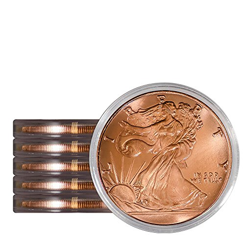 Pack of 5 Walking Liberty 1 oz Copper Round Medallion in Protective Capsules