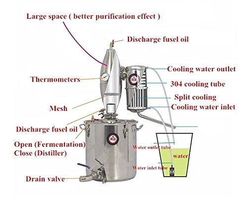 25L 6.6Gal 304 Stainless Steel Alcohol Distiller Home Brew Kit Monnshine Wine Making Boiler by Niangge (Image #1)