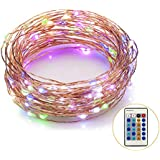 Weico Led String Lights 100LEDs 33ft Copper Wire Lights with Remote Control, Dimmable Multi Color Outdoor LED...