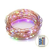 Weico Led String Lights 100LEDs 33ft Copper Wire Lights with Remote Control, Dimmable Multi Color Outdoor LED Starry Light, Color Changing Wire lights for Gardens, Homes, Patio, Wedding, Party