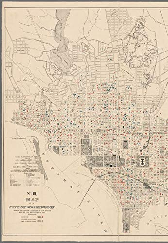 Vintography Reprinted 18 x 24 1895 Map of Washington, D.C. Morris County, Fairview Ave, Alexander Ave, Hillside Ave. Government Printing Office 0 0 22a by Vintography