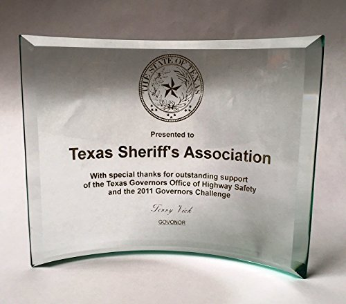 Beveled Edge Crystal Award - NWA Achievement or Graduation Plaque, Beveled Etched Glass Crescent, Police, Corporate, Firefighters Awards