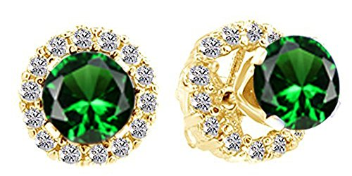 Christmas Sale Round Cut Simulated Emerald & White Cubic Zirconia Jacket Stud Earrings In 14K Yellow Gold Over Sterling Silver ()