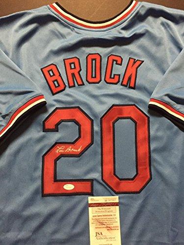 (Autographed/Signed Lou Brock St. Louis Blue Baseball Jersey JSA COA)