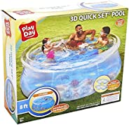Play Day Kids 8ft 3D Transparent Quick Set Pool with 2 Goggles