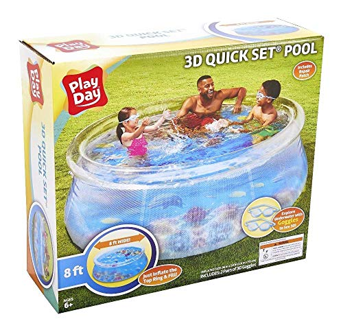 🥇 Play Day Kids 8ft 3D Transparent Quick Set Pool with 2 Goggles