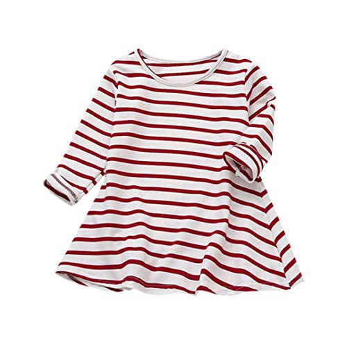 (Vicbovo Clearance Sale Toddler Baby Girl Kids Casual Striped Long Sleeve Princess Dresses Shirt Dress Autumn Clothes (Wine,)