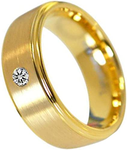 Nybuchi Tungsten Men Women 8mm Brushed Glory Gold Simple Ring Inlay Diamond Couple Wedding Amazon Com