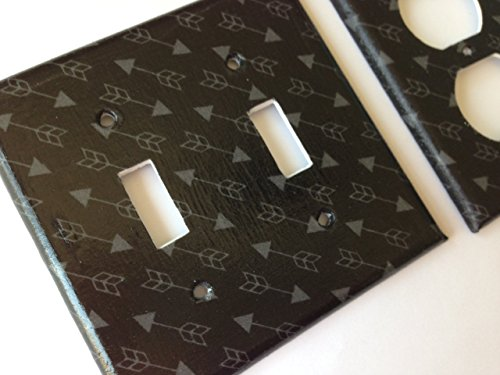 Arrow Switchplate - Black And Gray Arrow Light Switch Plate Cover - Various Size Light Switchplates Offered