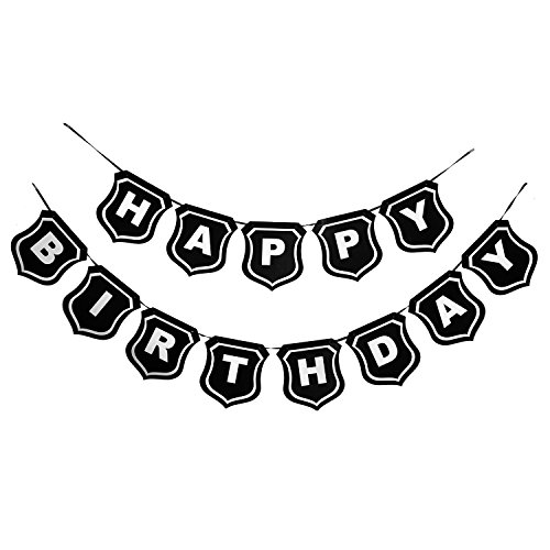 Mudder Happy Birthday Banner Black Bunting Flag for 21st 30th 40th 50th 60th 70th for Birthday Party Decoration