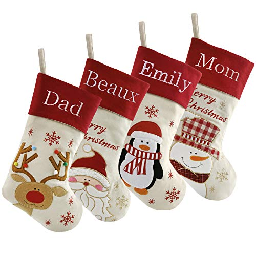 Monogrammed Stocking - WEWILL Personalized Christmas Stockings Home Decorations