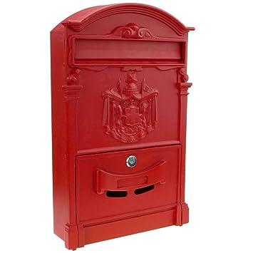 PrimeMatik - Buzón Antiguo metálico para Cartas y Correo Postal de Color Rojo