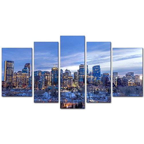 Wall Art Decor Poster Painting On Canvas Print Pictures 5 Pieces Skyscrapers Urban Core at Sunset Calgary Alberta Canada Architecture Cityscape Framed Picture for Home Decoration Living Room Artwork