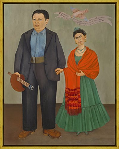 Berkin Arts Framed Kahlo de Rivera Giclee Canvas Print Paintings Poster Reproduction(Frida and Diego Rivera) (Painting Of Frida Kahlo And Diego Rivera)