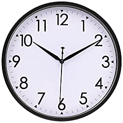 Silent Wall Clock - 10 Inch Non-ticking Simple Large Number Classic Clocks by Hipph, Black