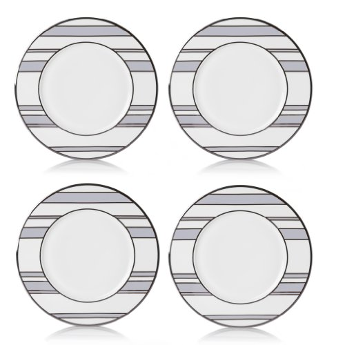 Mikasa Color Studio Gray-Platinum Stripes Set of 4 Accent Plates