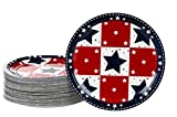 Disposable Plates - 80-Pack Party Paper Plates American Party Supplies for America-Themed, Patriotic Party Favors, Stars Design, 9 x 9 Inches