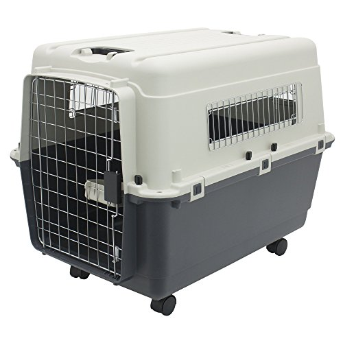 Plastic Kennels – Rolling Plastic Airline Approved Wire Door Travel Dog Crate, Large