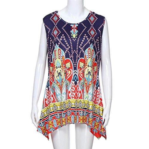 Sciolto Estate T Shirt T Irregolare Tunica Stampa Senza Maniche Ashop shirt Canotta A Donne Camicetta Corte Donna T shirt HBwnO