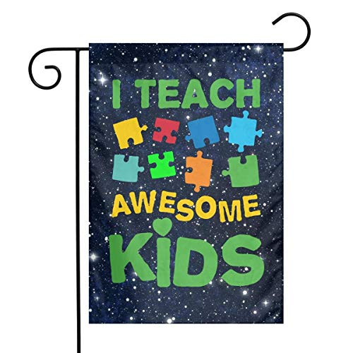 DJIEZI Autism Awareness Puzzle I Teach Awesome Kids Garden Flag Weather Resistant Demonstration Flag - Only One Side - 12