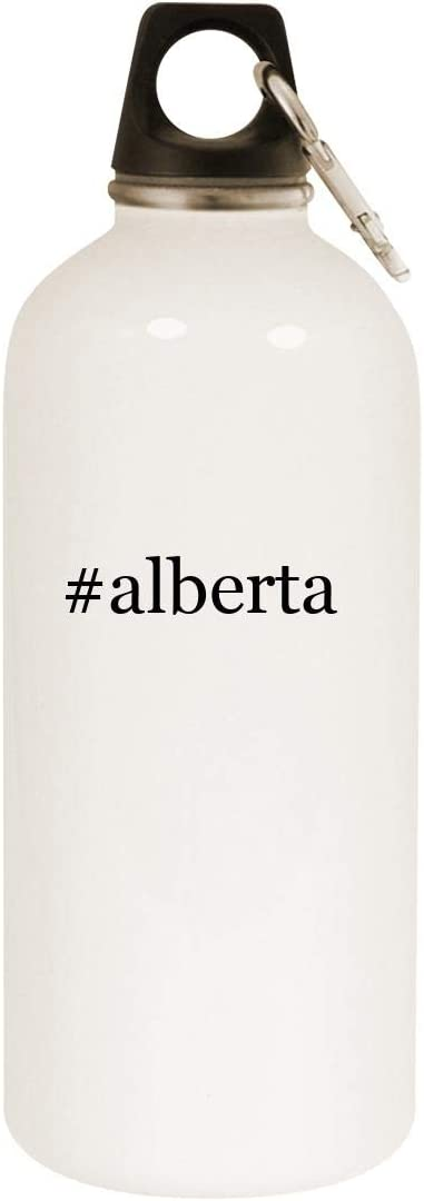 #alberta - 20oz Hashtag Stainless Steel White Water Bottle with Carabiner, White