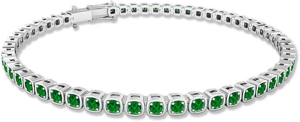 Pulsera de tenis esmeralda de 2,16 quilates, con certificación SGL, pulsera de dama de honor, pulsera de declaración de forma cuadrada, pulsera de aniversario de 17, 10K Oro