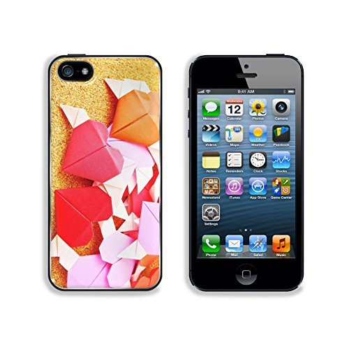 Liili Premium Apple iPhone 5 iphone 5S Aluminum Backplate Bumper Snap Case IMAGE ID 19708826 Origami colorful heart on corkboard