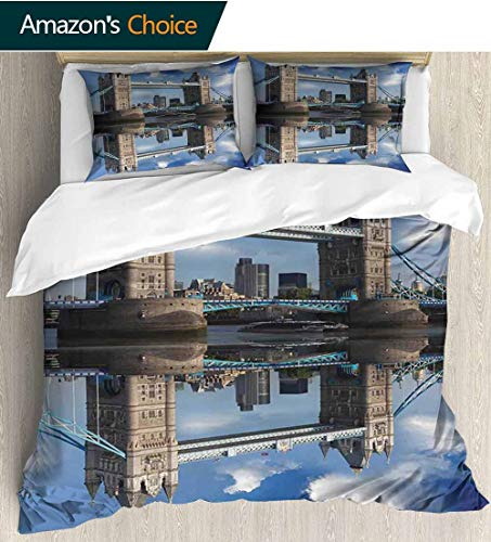 shirlyhome London Full Queen Duvet Cover Sets,Tower Bridge with City Cruise in Summer Day Mirroring on Tranquil Thames River Bedding Set for Teen 3PCS 90