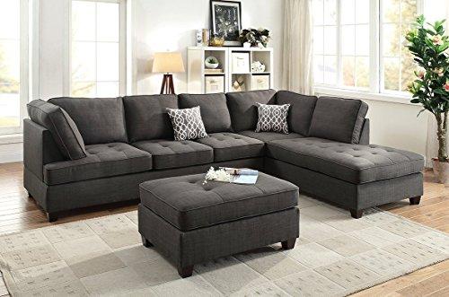 3Pcs Modern Ash Black Dorris Fabric Reversible Sofa Chasie Set with 2 Accent Pillows