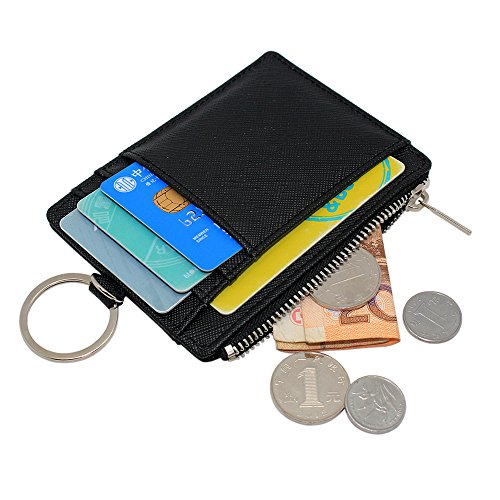 Boshiho Saffiano Leather Credit Card Holder Coin Change Purse with Key Ring Keychain (Black)