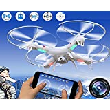 XGO Outdoor Toys Rc WiFi FPV Quadcopter Drone HD Camera 4 Channel 2.4GHz 6-Gyro Headless APP Control White,2 li-po Battery