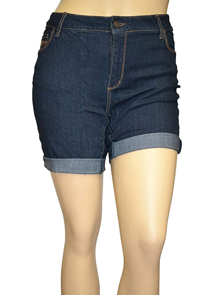 244491869e Alfa Global Women's Plus Size Stretchy Distressed White Regular 5 Pocket  High Rise Shorty Shorts Ultra Soft and Comfortable. Model Wears Size 14.
