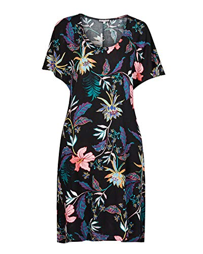 (NOBLEMOON 80s Mini Dress,Women's U Neck Flame Short Sleeve Colorful Flower abouve Knee Midi Dress Black)