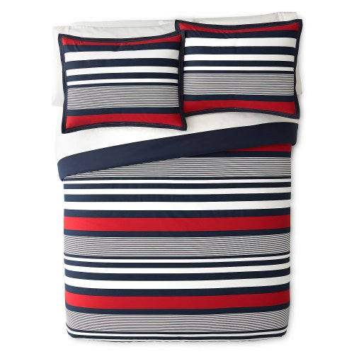 Izod Varsity Stripe Comforter Set (Set Blue Stripes)