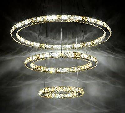 Dixun Modern LED K9 Crystal Chandelier Pendant Lamp Flush Mount Ceiling Light Fixture 3 Rings (30+40+50cm)
