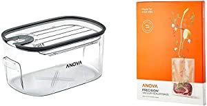 Anova Culinary ANTC01 Sous Vide Cooker Cooking container, Holds Up to 16L of Water, With Removable Lid and Rack & Anova Pre-Cut Sous Vide Vacuum Sealer bags, One size, Clear