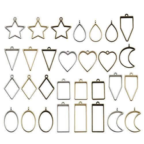 - Youdiyla 30 Frame Pendant, Bezel Charms Pendant Open Back Bezel Setting Hollow Mold Pendants Assorted Geometric Pressed Flower Frame Pendant DIY Crafts for Resin Earrings Necklace Bracelet (HM285)