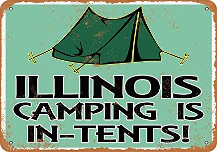 Illinois Camping is in-Tents Retro Vintage Metal Signs Wall Art Metal Tin Sign Plaque for Man Cave Grage Farmhouse Decor 8