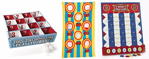 Canvas Bean Bag Toss Game,Disk Drop Game and Carnival Table Tennis Toss Game Birthday (bundle)