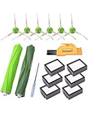 KEEPOW Replacement Parts for iRobot Roomba i7 E5 E6 E7 i7+/i7 Plus Vacuum Cleaner Accessories, 6 HEPA Filters, 6 Side Brushes, 1 Set Multi-Surface Rubber Brushes