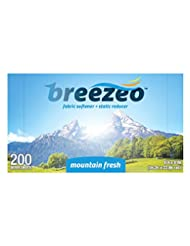 Breezeo Fabric Softener Dryer Sheets, Mountain Fresh, 200 Cou...