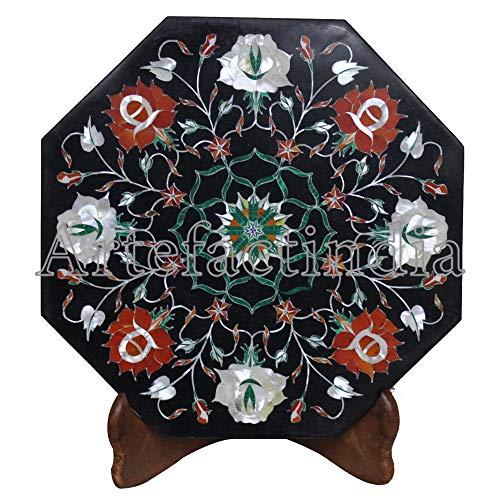 Artefactindia Decorative Wall Tile Beautiful Flower Mosaic Art Inlay Black Marble Floor Tile 12