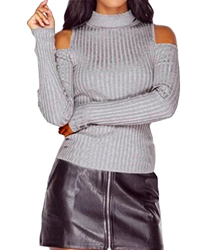 Engood Women's Solid Turtleneck Cut Out Cold Shoulder Ribbed Knit Slim Pullover Sweater Top Grey S