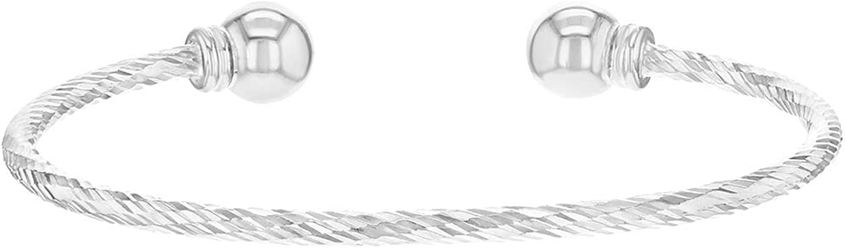 Sterling Silver And 3 Diamonds Baby Adjustable Bangle