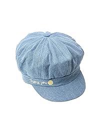 Cotton Adjustable Newsboy Caps Girls Women Boys Denim Embroidery Flat Caps Hats