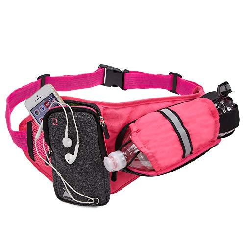 - Athlé Pink Running Belt - Horizontal Water Bottle Pouch, Large Fanny Pack Pocket Fits Most Phones and Wallet, Adjustable One Size Fits All Waist Band, Key Clip, 360° Reflective
