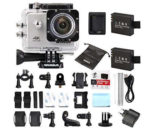 WiMiUS Actioncam 4k Kamera Action Wifi Full HD Actionkamera 16MP Helmkamera Wasserdicht 40M mit 2 Batterien (Q1) (Silber)
