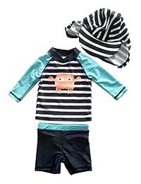 eKooBee Baby Boys Rash Guard Swimsuit Striped Swimwear Shirt+Bottom Set