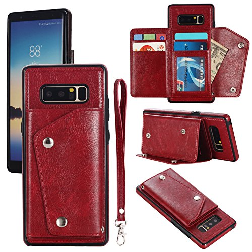 Gostyle Galaxy Note 8 Wallet Case,Samsung Galaxy Note 8 Case with Credit Card Slots,Fashion Multifunction Premium PU Leather Cover with Kickstand Cash Pocket Hand Strap Shockproof Cover,Red (Multifunction Leather Note)