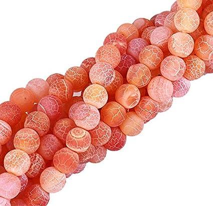 piedras preciosas perlas 6 mm Naranja Gefrostet Achat piedra 36 Stk redondo piedra natural Frosted Achatperle Halbedelstein piedras preciosas Perla